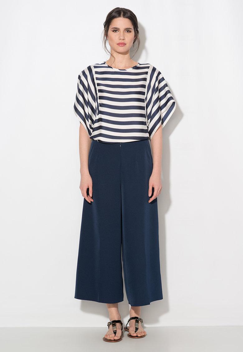 Pantaloni culotte bleumarin cu buzunare