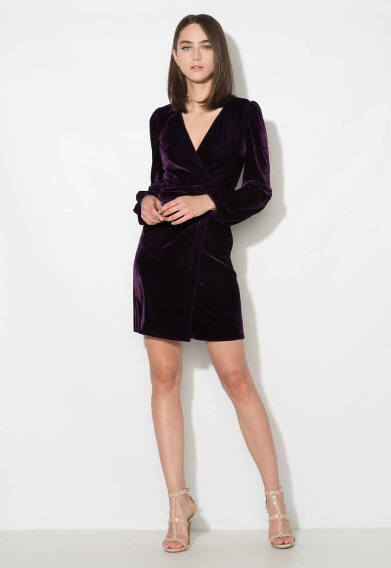 Zee Lane Collection Rochie petrecuta violet catifelata cu cordon