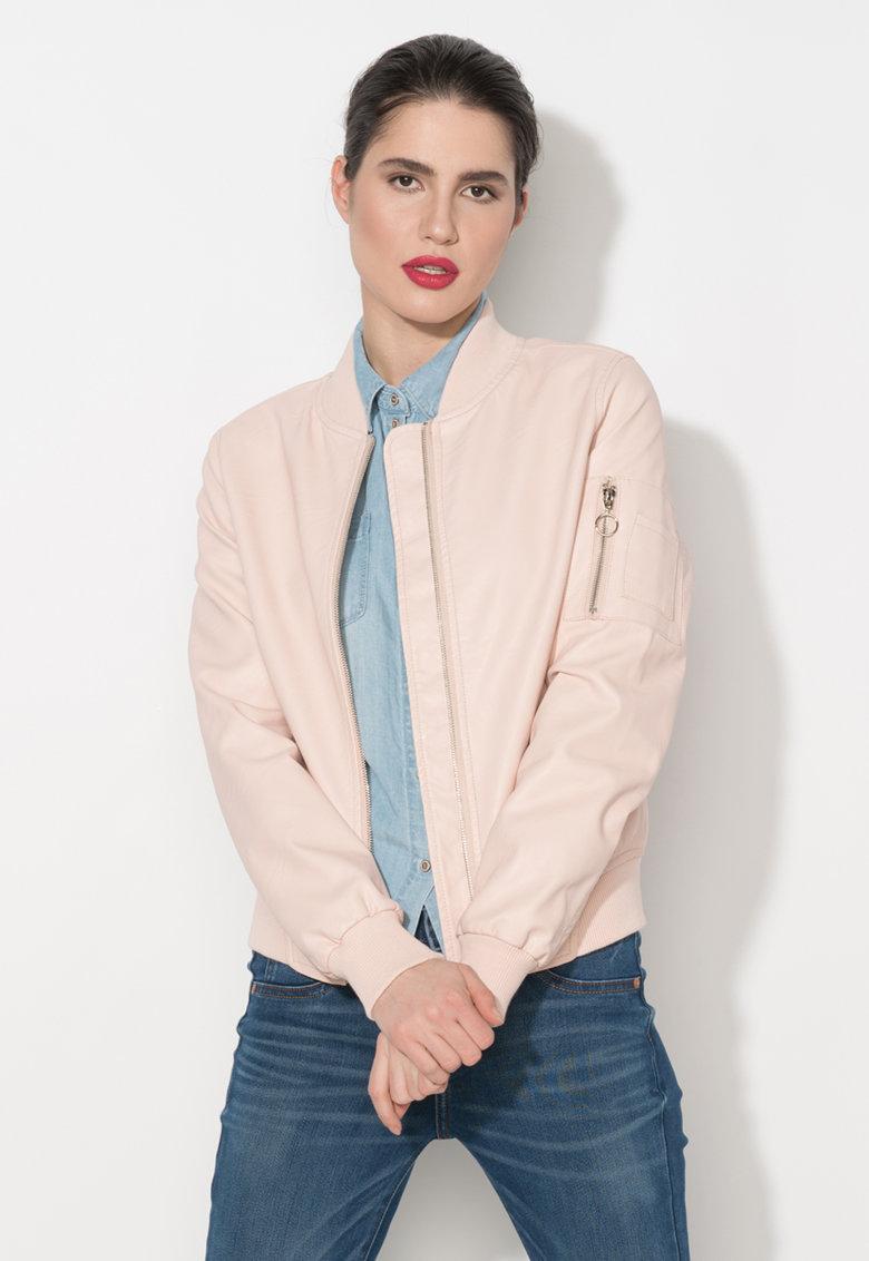 Jacheta bomber roz de piele sintetica