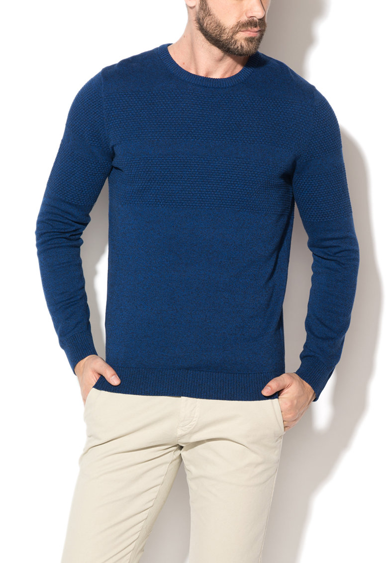 Selected Homme Pulover bleumarin melange cu insertii texturate John