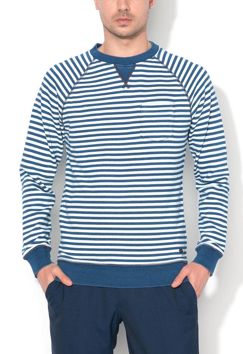 Esprit Bluza sport alb cu albastru in dungi
