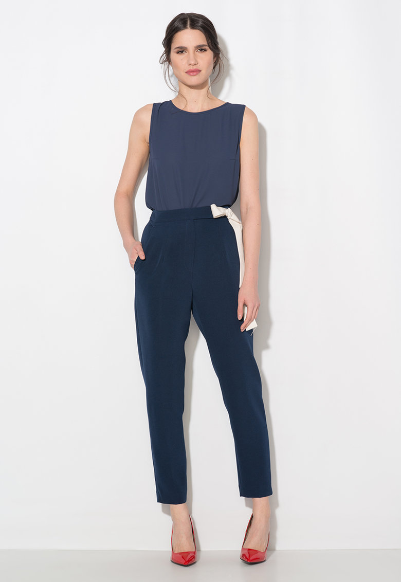 Pantaloni bleumarin conici cu talie inalta Zee Lane Collection