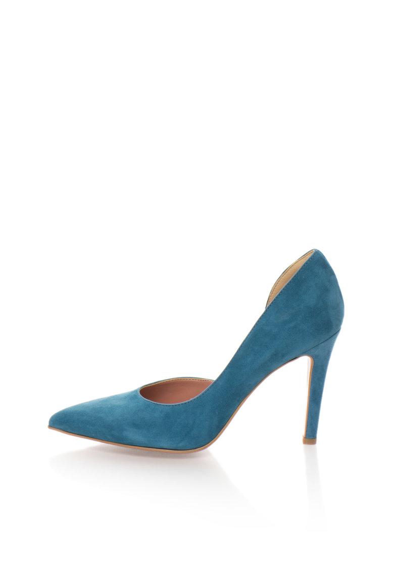 Pantofi d'Orsay albastru celest de piele intoarsa Anne