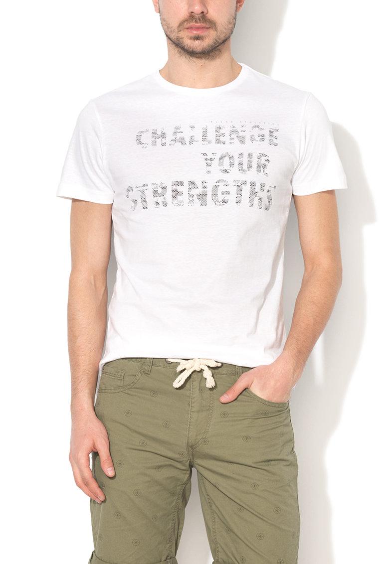 BLEND Tricou slim fit alb cu imprimeu text