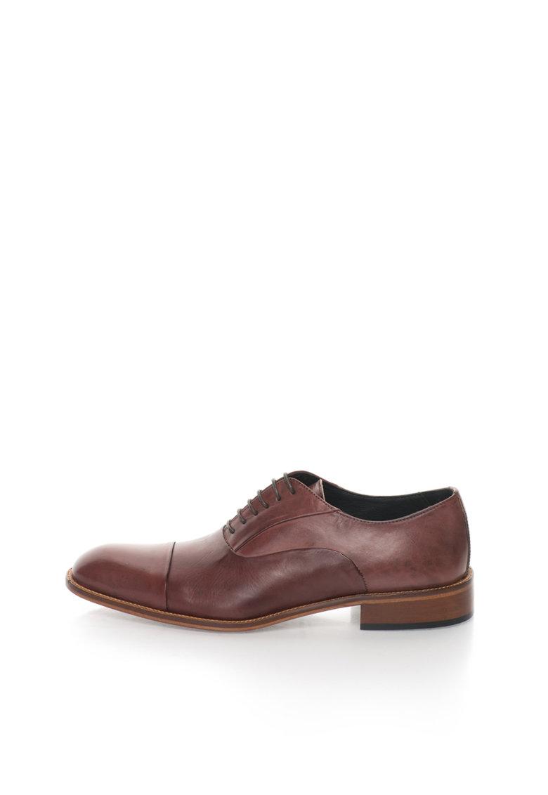 Zee Lane Pantofi maro coniac de piele cu aplicatie cap-toe