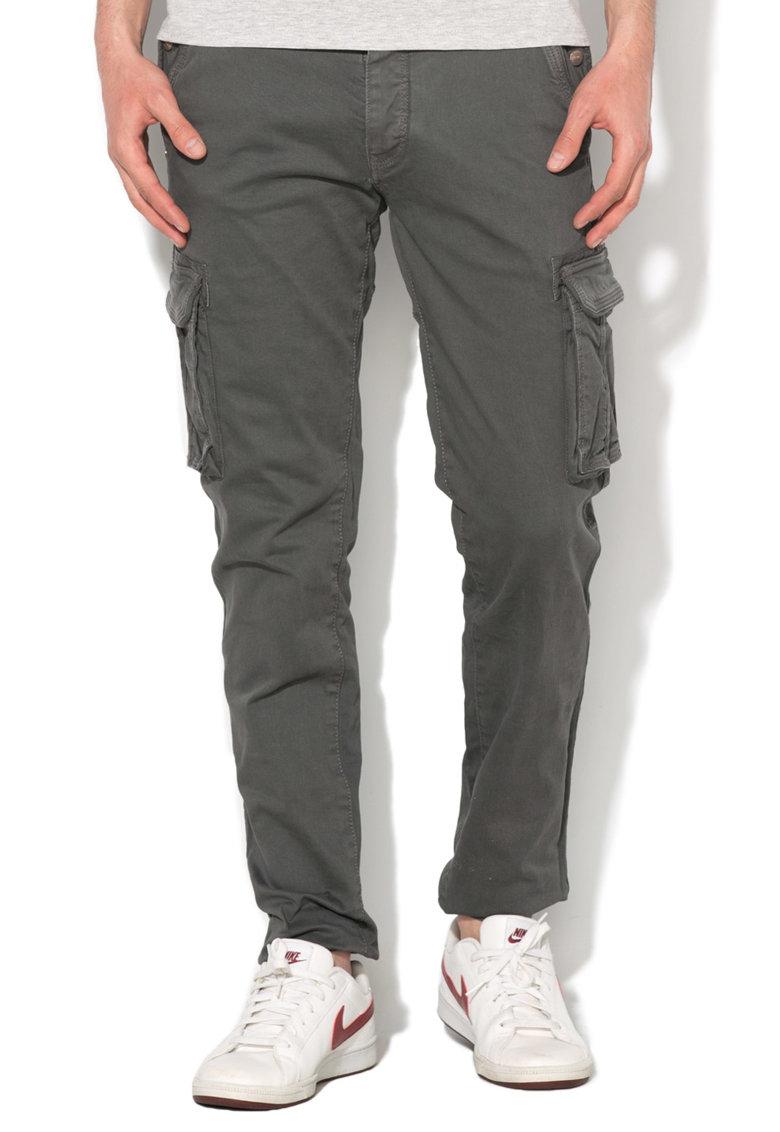 Alcott Pantaloni cargo gri cu mansete elastice