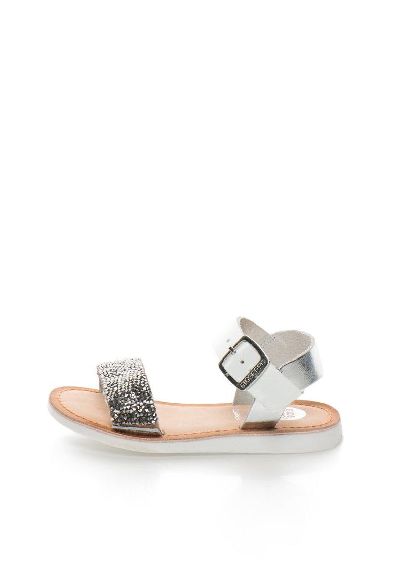 Gioseppo Sandale argintiu cu alb Adrina