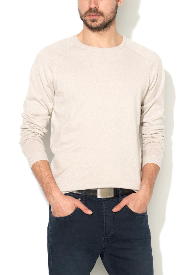 Pulover bej deschis tricotat fin Gio