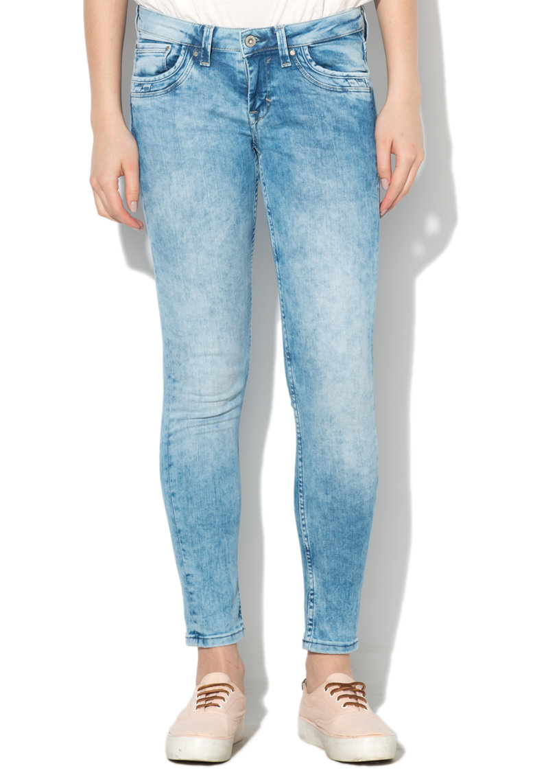 Pepe Jeans London Jeansi slim fit bleu cu talie joasa Ripple
