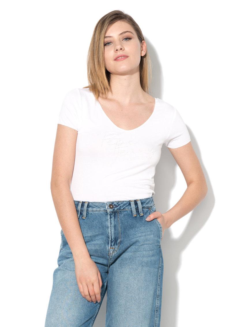 Tricou alb cu imprimeu logo Kate Pepe Jeans London