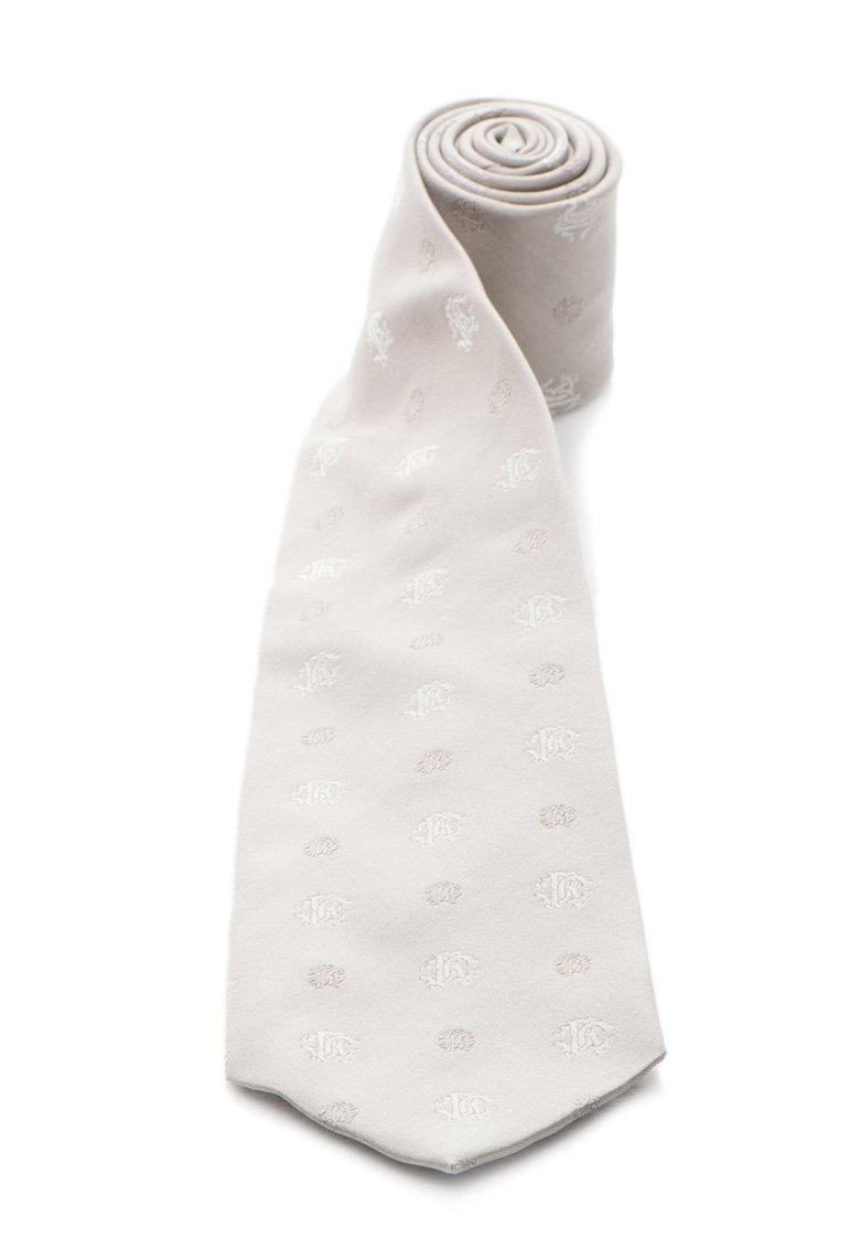 Roberto Cavalli Cravata gri de matase cu model logo
