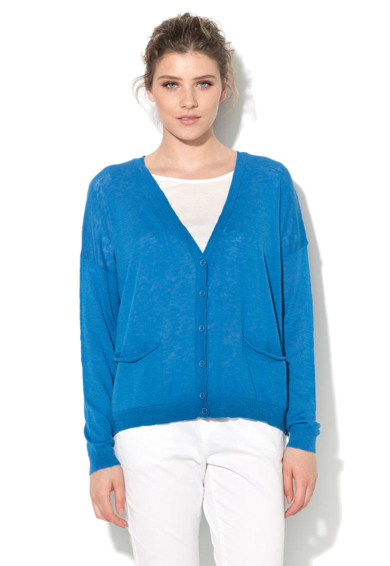 United Colors Of Benetton Cardigan albastru tricotat fin cu buzunare