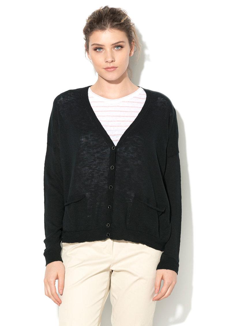 Cardigan negru tricotat fin cu buzunare