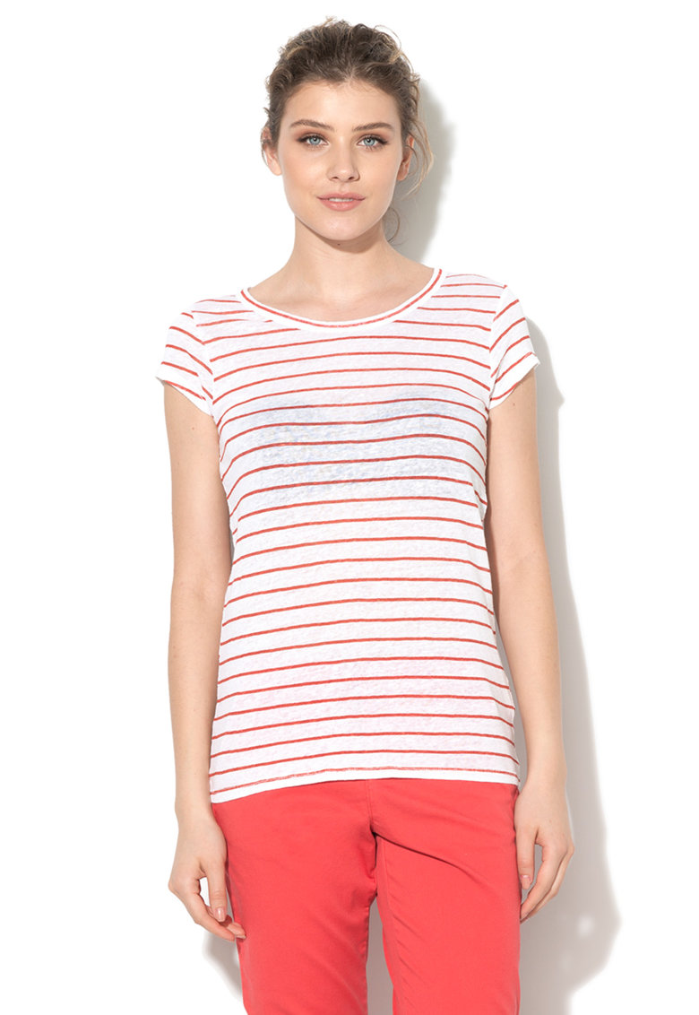 United Colors of Benetton Tricou alb cu rosu terracota de in