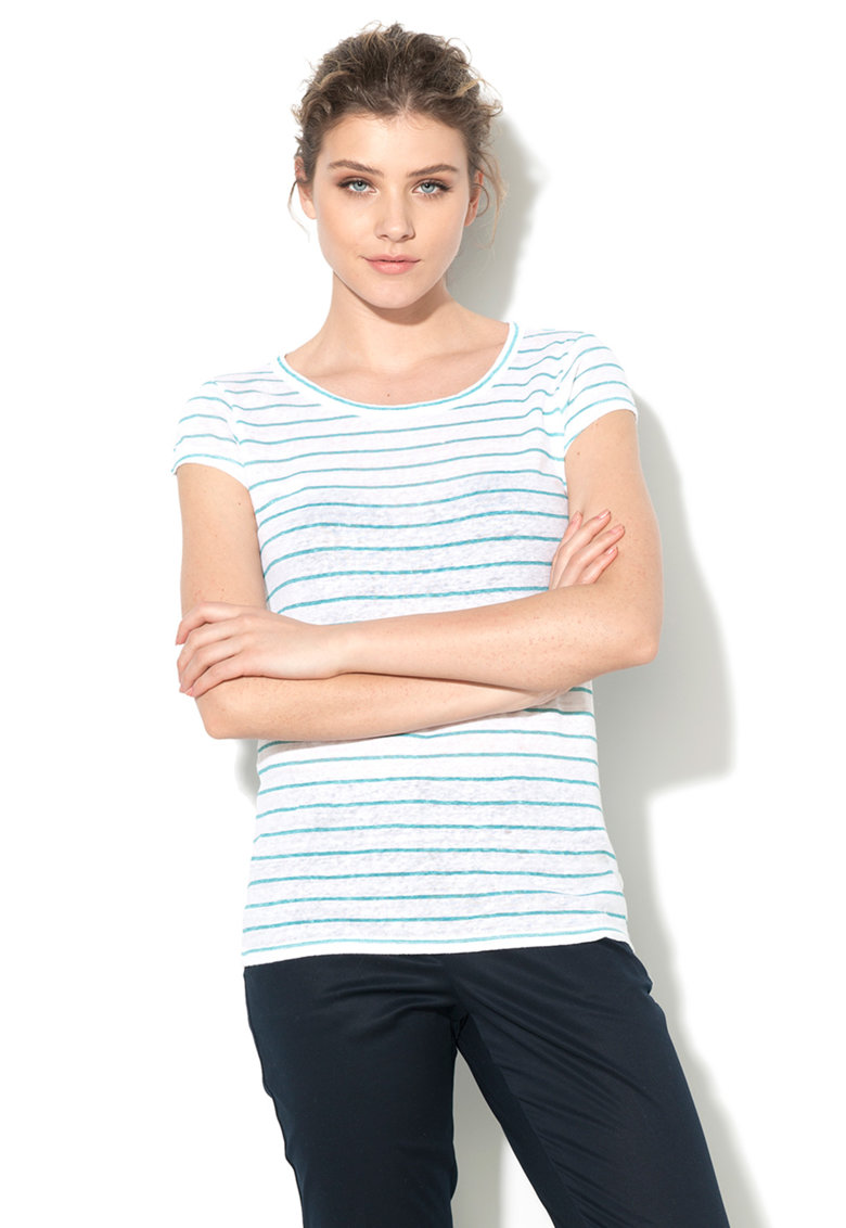 Tricou alb cu verde marin de in de la United Colors of Benetton 3R2ZE1711-912