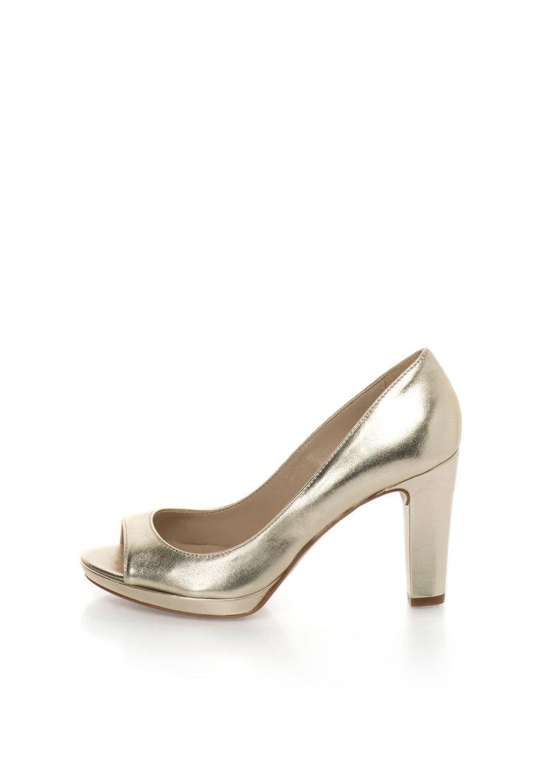 Zee Lane Pantofi aurii de piele cu varf decupat
