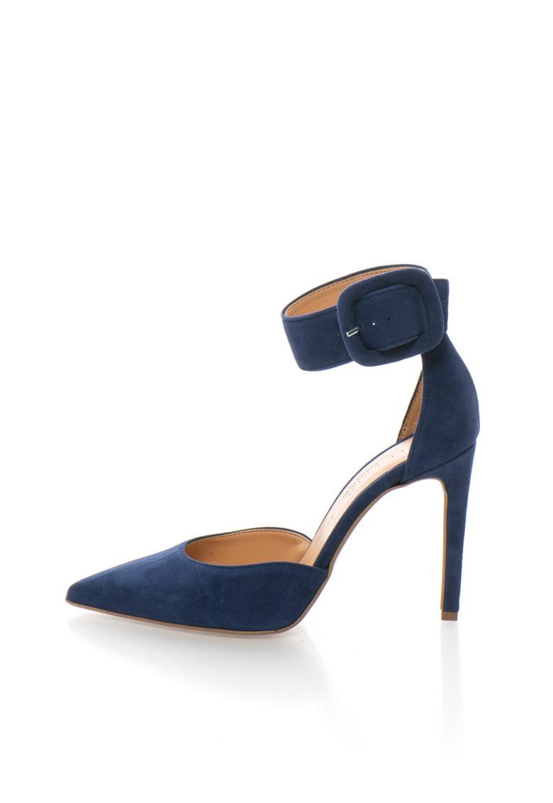 Zee Lane Collection Pantofi d`Orsay bleumarin de piele intoarsa cu bareta pe glezna