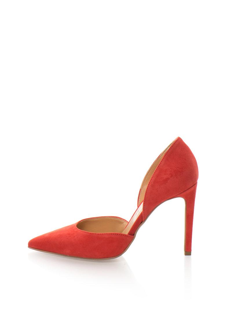 Zee Lane Collection Pantofi d`Orsay rosii de piele intoarsa