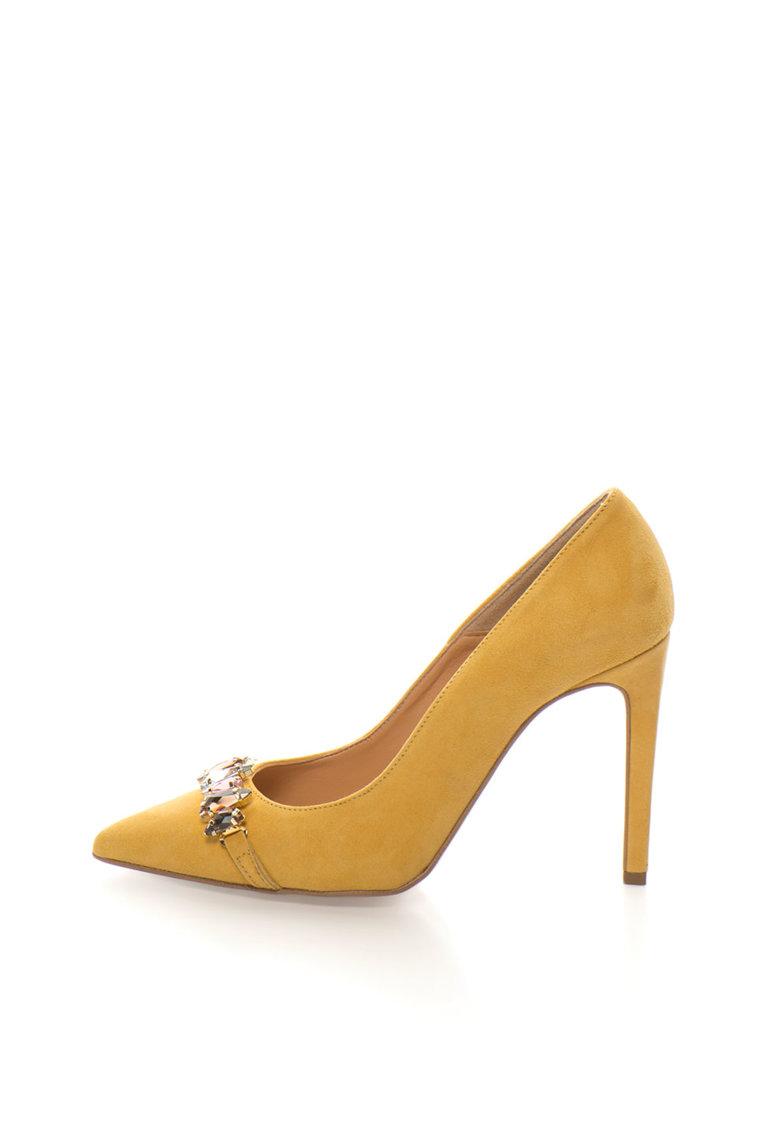 Zee Lane Collection Pantofi stiletto ocru de piele intoarsa cu detaliu din strasuri