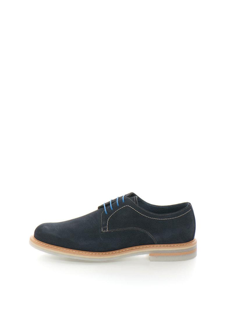 Zee Lane Collection Pantofi derby bleumarin de piele intoarsa