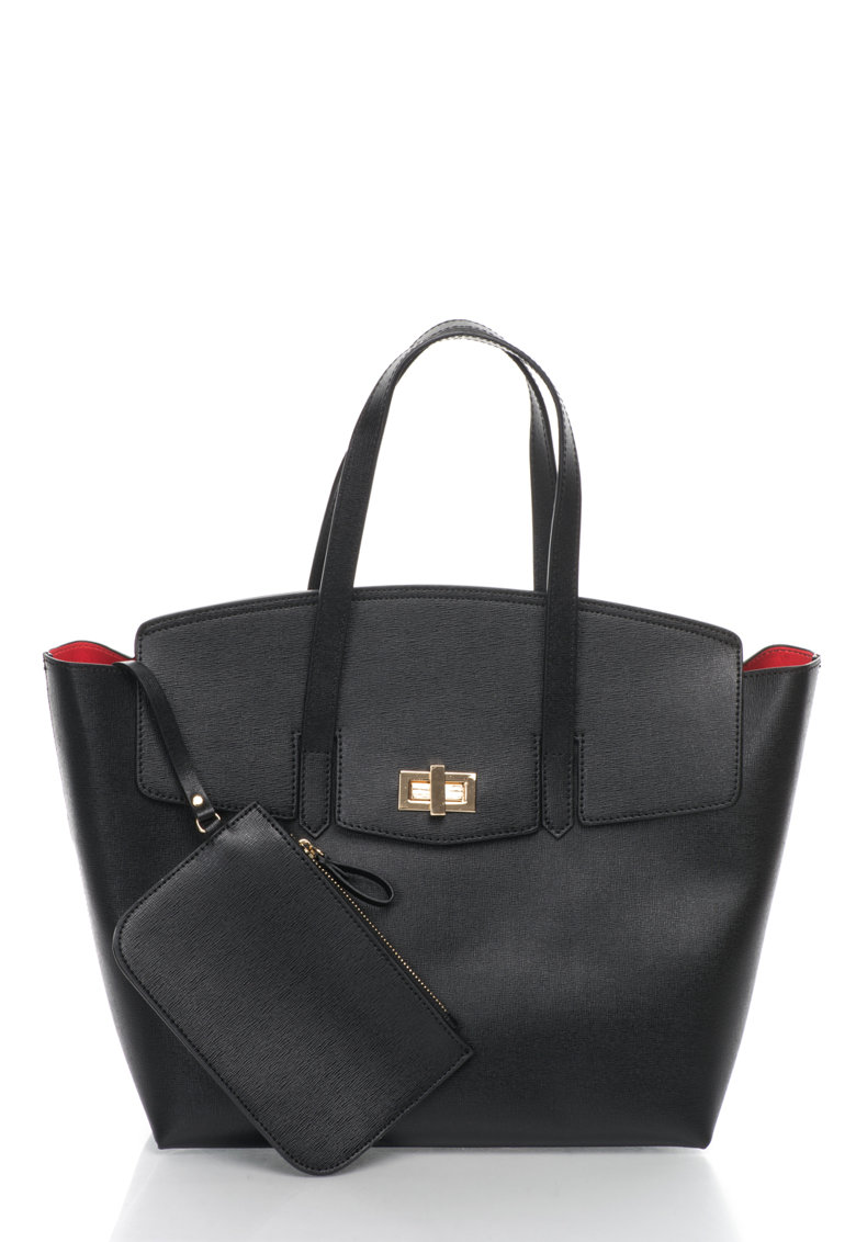 Geanta tote neagra de piele saffiano de la Zee Lane Collection