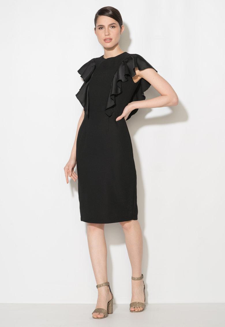 Rochie midi neagra cu volane