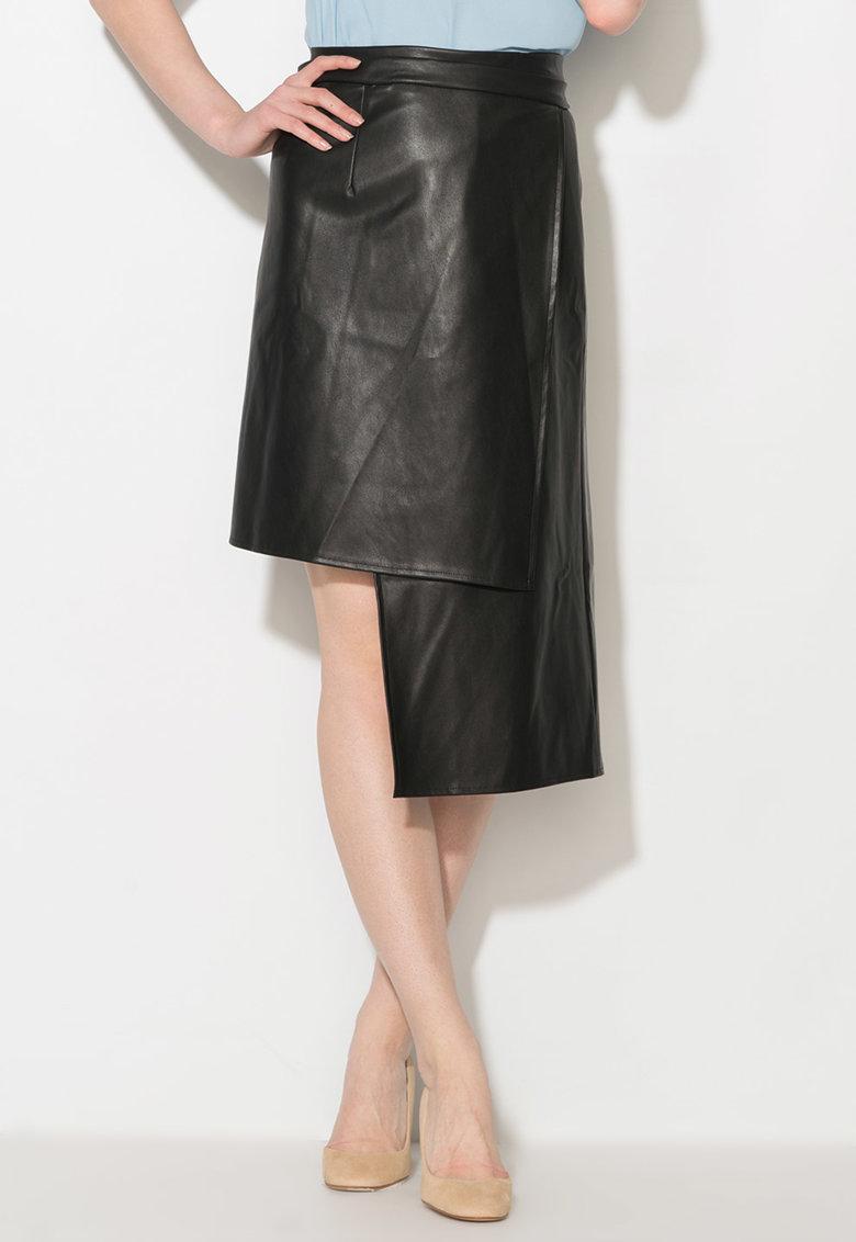 Zee Lane Collection Fusta asimetrica neagra de piele sintetica