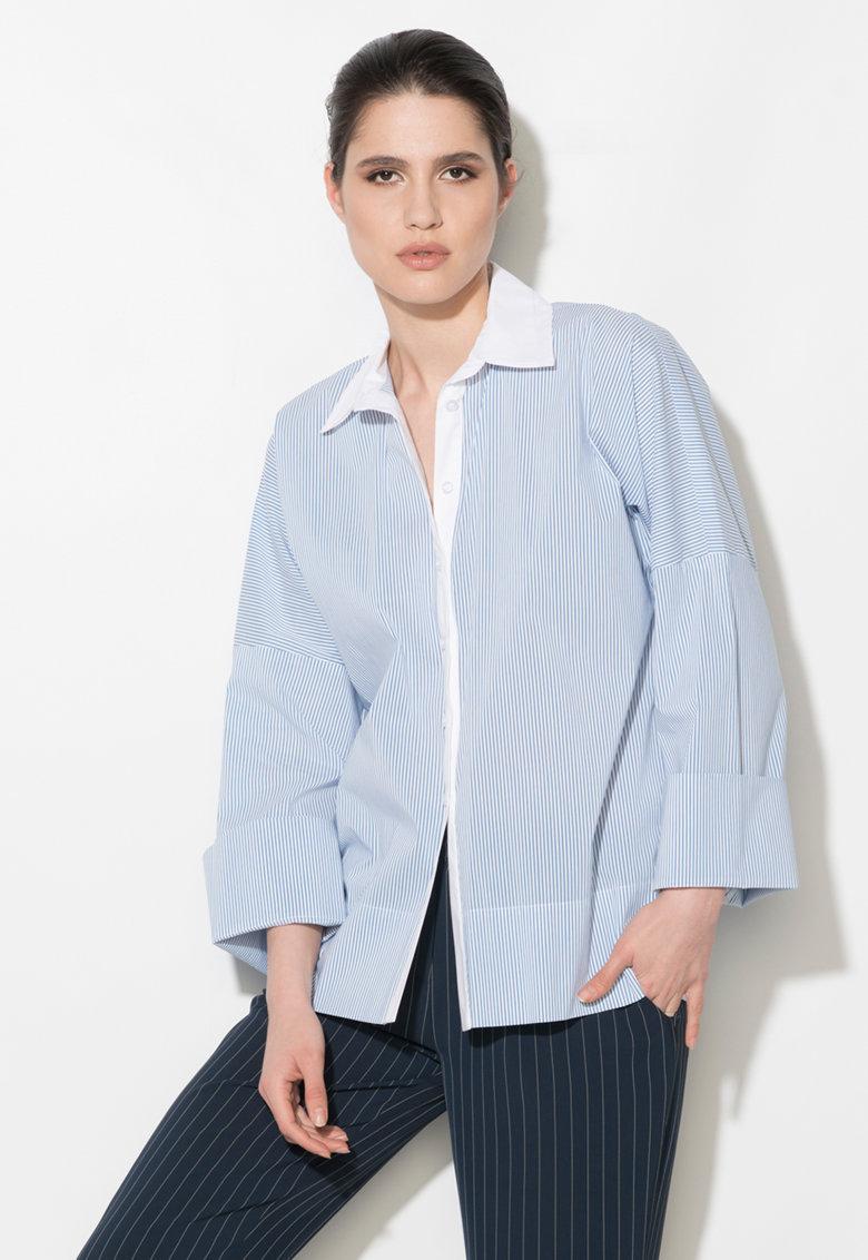 Camasa alb cu albastru in dungi si cu guler dublu