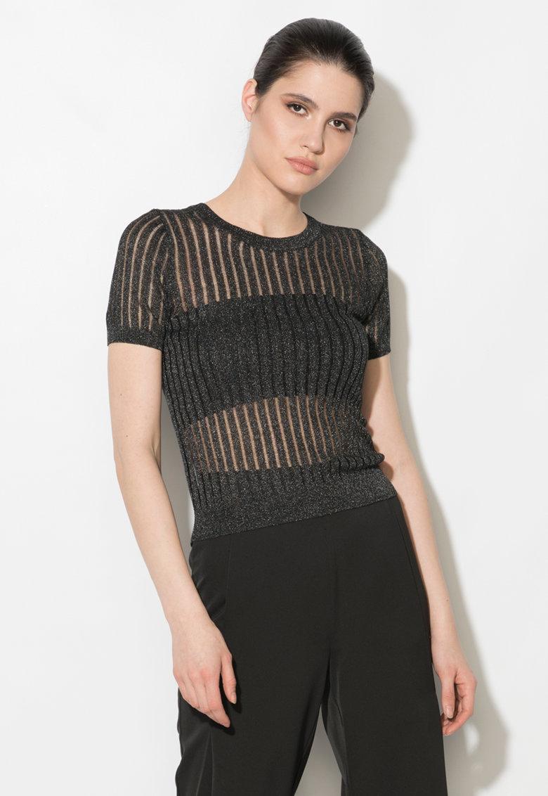 Zee Lane Denim Bluza neagra cu insertii transparente