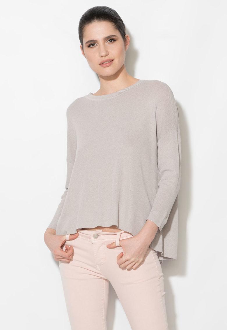 Bluza gri cenusa semitransparenta cu decupaj pe partea din spate