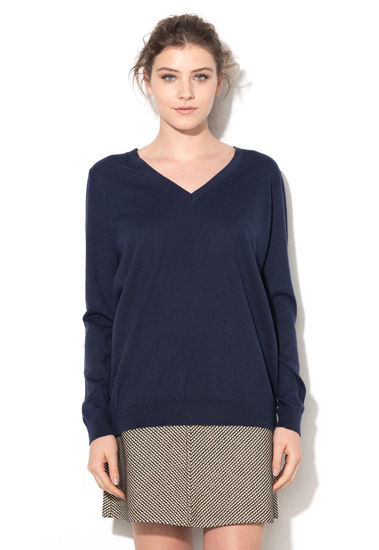 Pulover bleumarin tricotat fin
