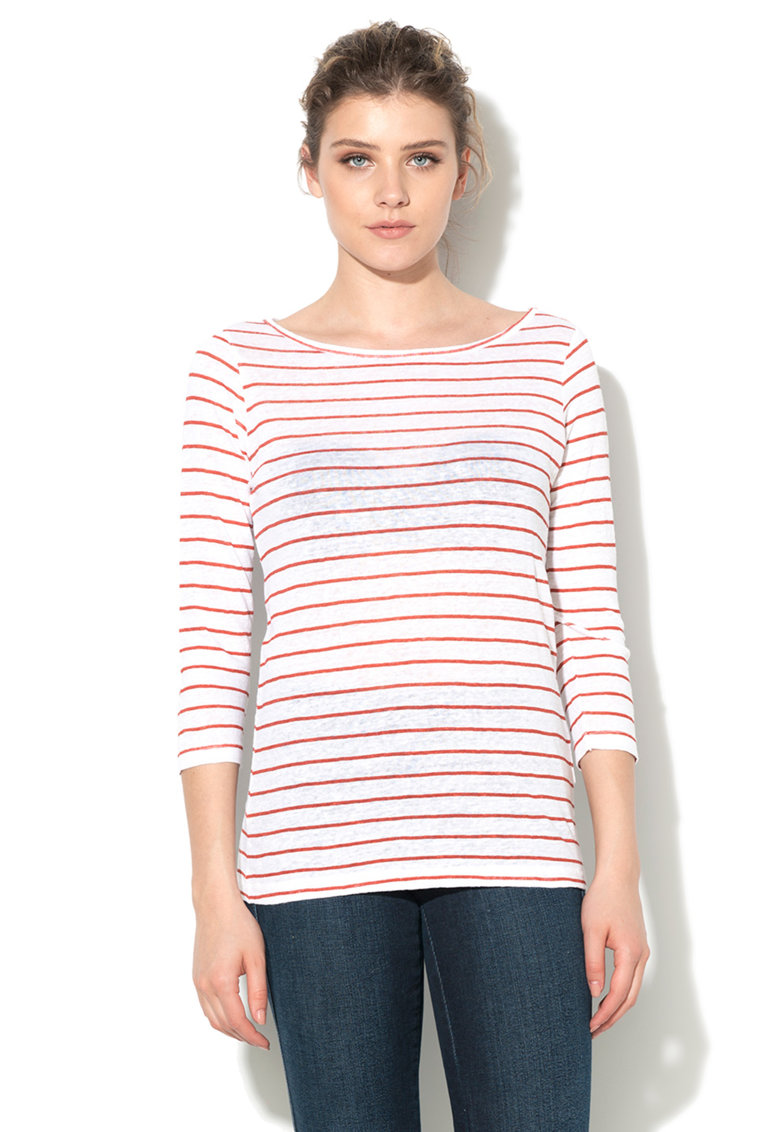 United Colors Of Benetton Bluza alb cu rosu terracota de in
