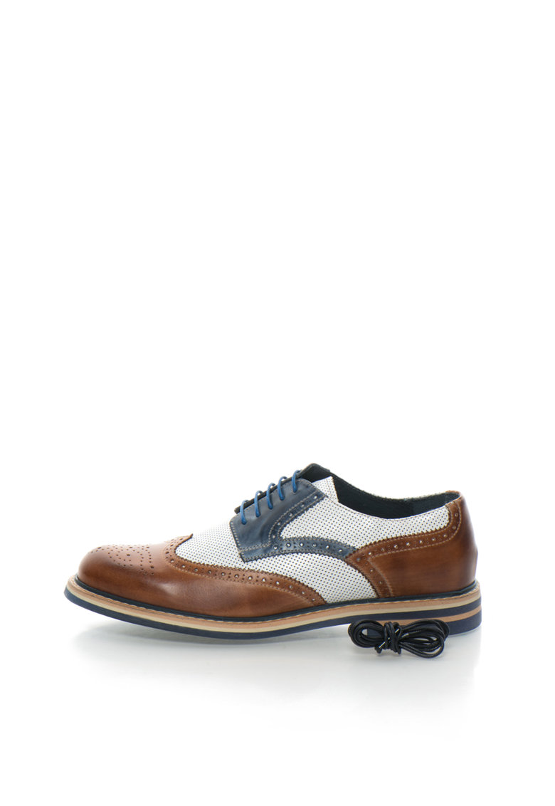 Pantofi brogue maro cu alb de piele