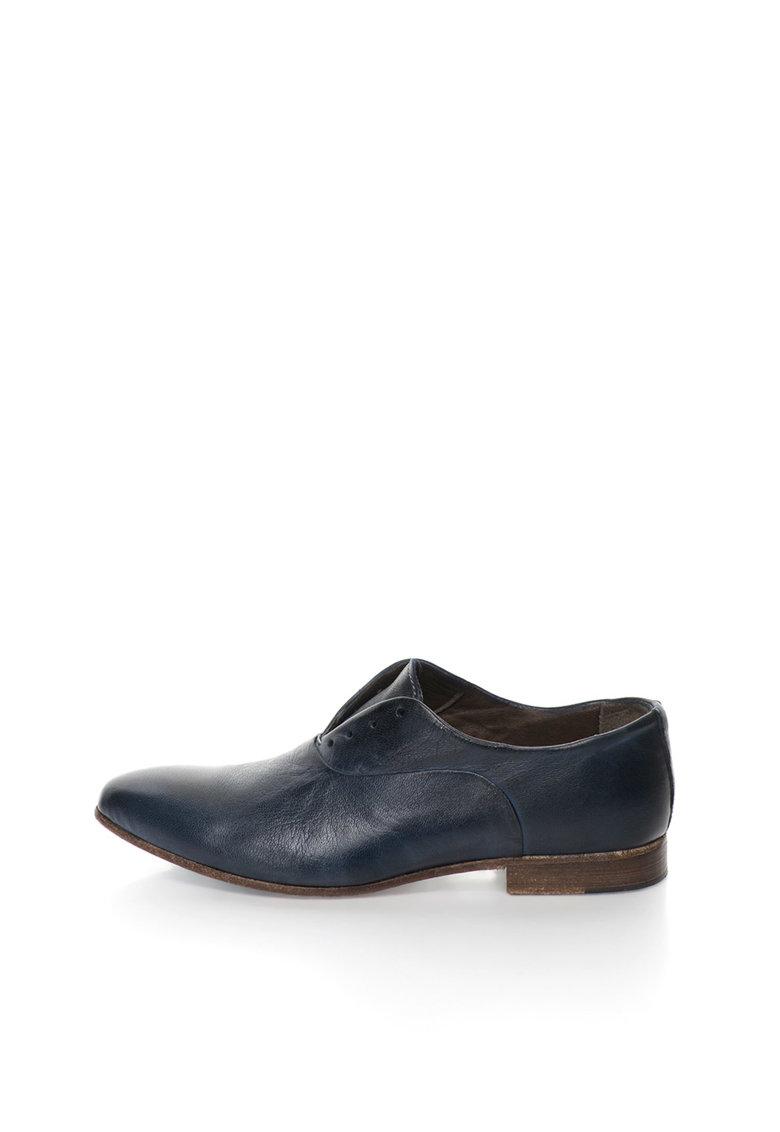 Zee Lane Collection Pantofi derby bleumarin de piele fara sireturi Papua