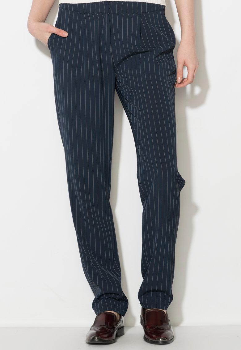 Zee Lane Denim Pantaloni bleumarin cu alb si dungi discrete