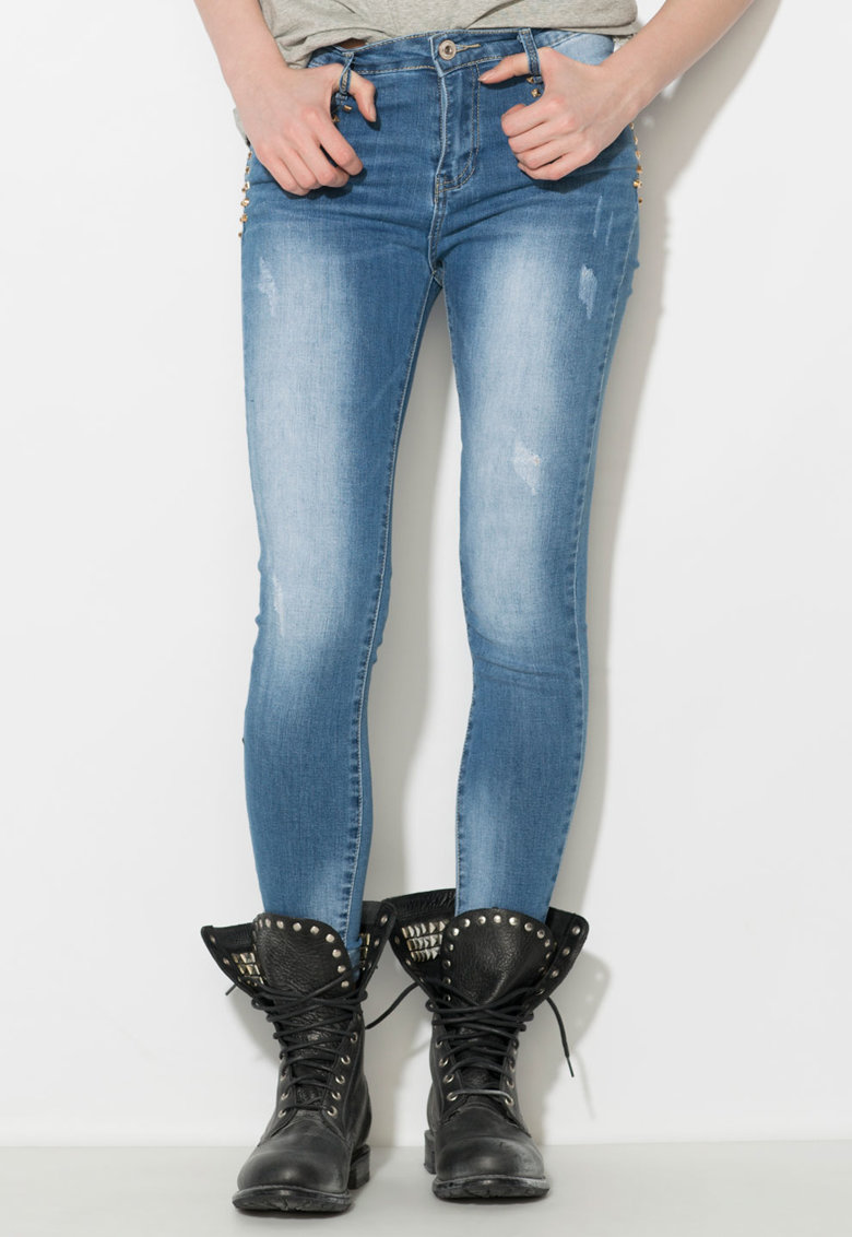 Zee Lane Denim Jeansi skinny albastri cu nituri