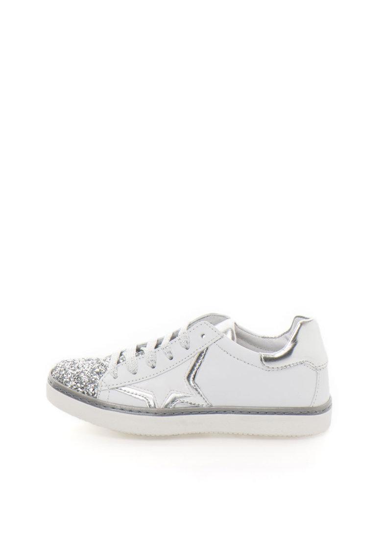 Zee Lane Tenisi alb cu argintiu cu aplicatie cap-toe stralucitoare