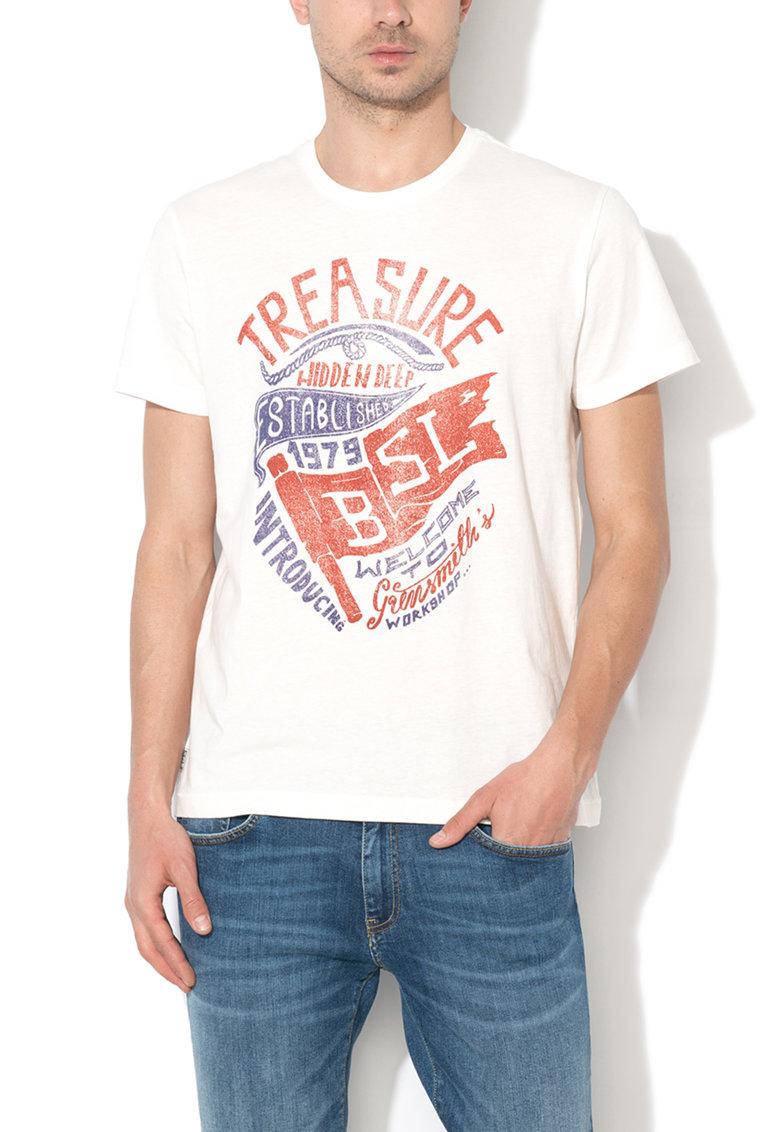 Tricou alb cu imprimeu Romaten de la Big Star