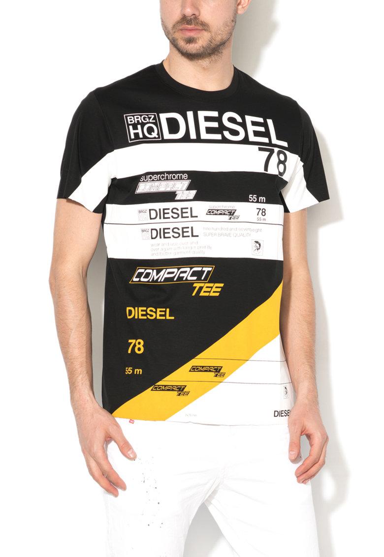 Diesel Tricou negru si alb cu imprimeu frontal Joe
