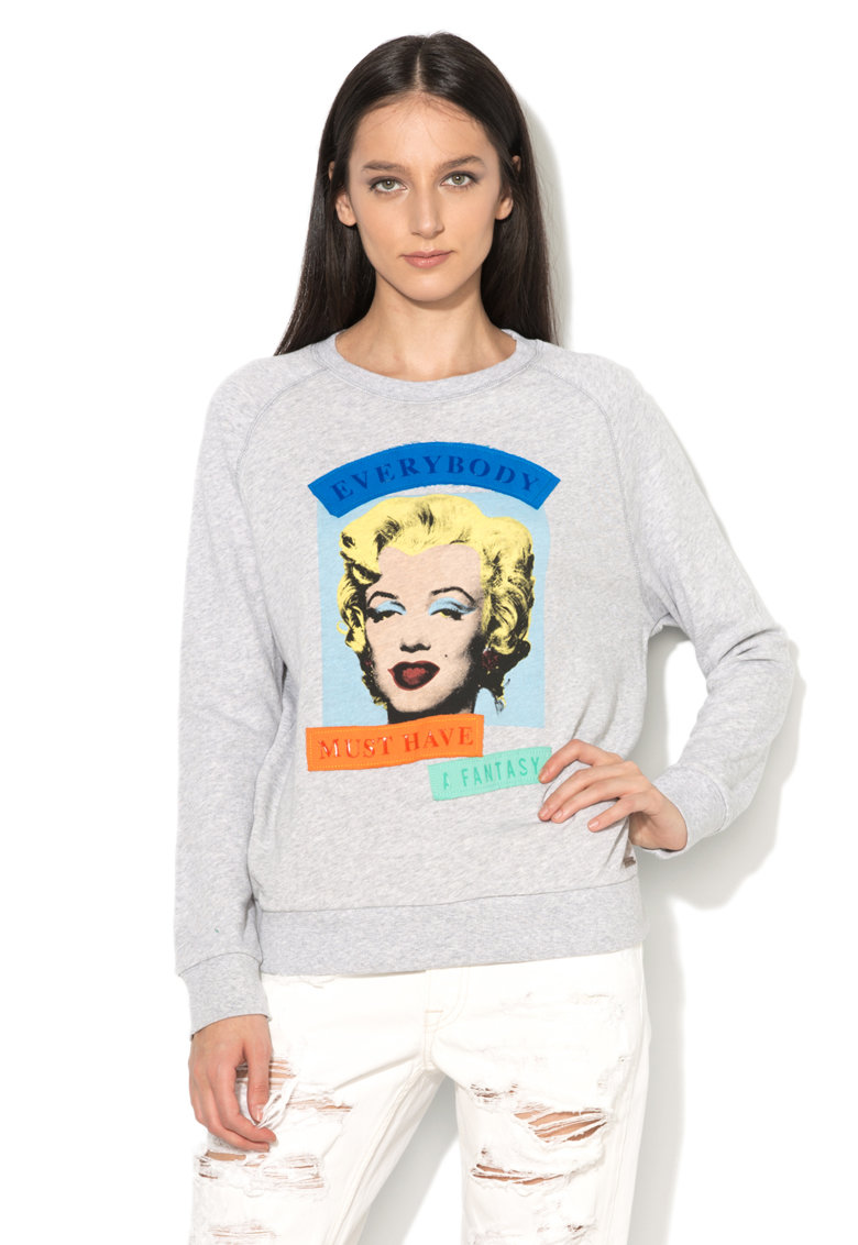 Andy Warhol by Pepe Jeans Bluza sport gri melange cu imprimeu fronta