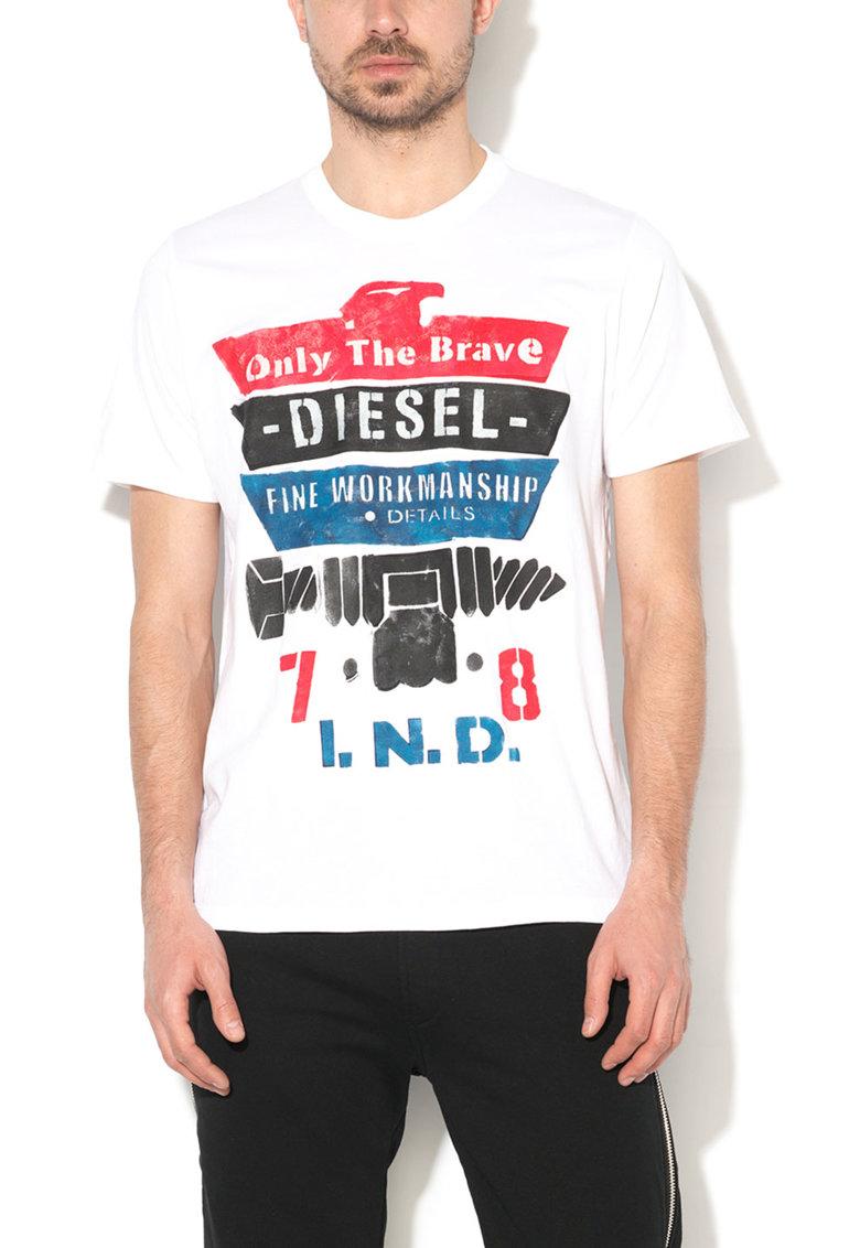 Tricou alb cu imprimeu text Rain de la Diesel