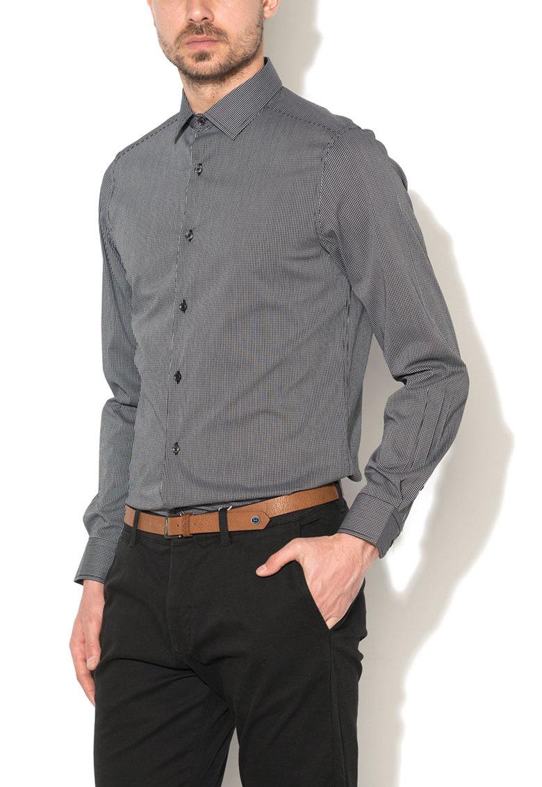 Zee Lane Denim Camasa slim fit negru cu alb si model plasa