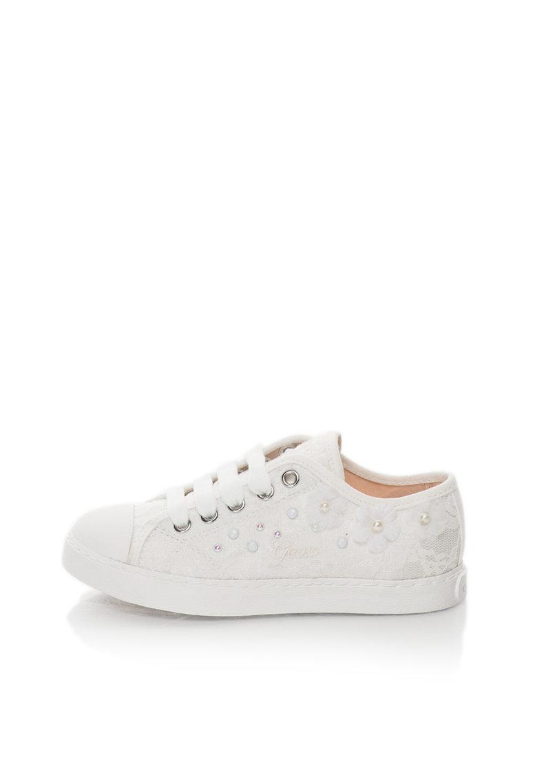 Geox Pantofi sport albi cu strat exterior de dantela Ciak