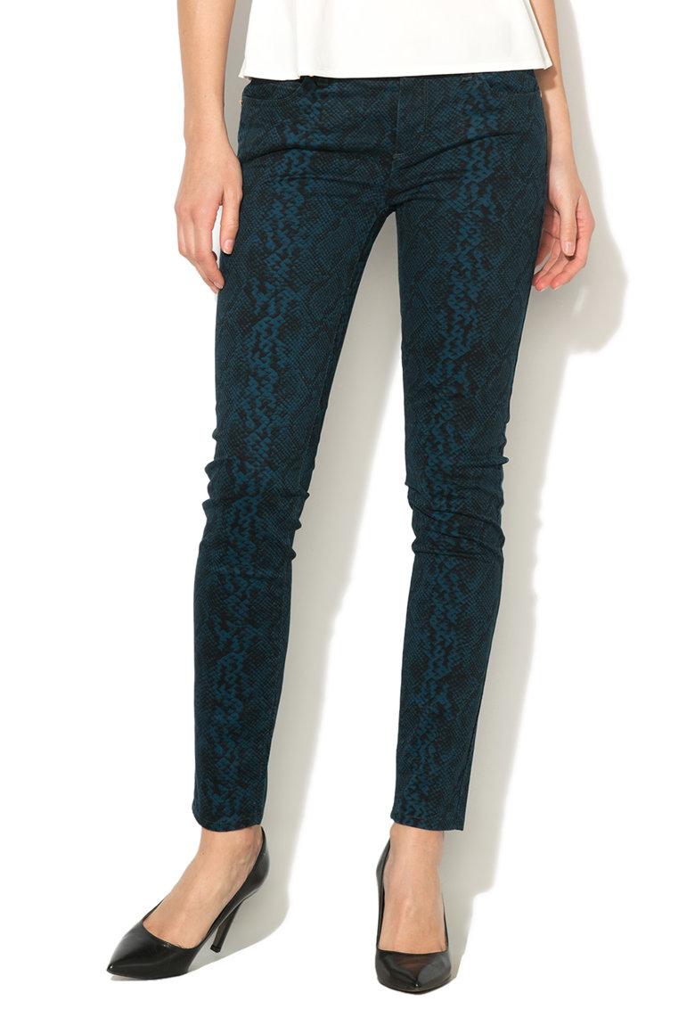 Juicy Couture Pantofi skinny albastru si negru cu model reptila