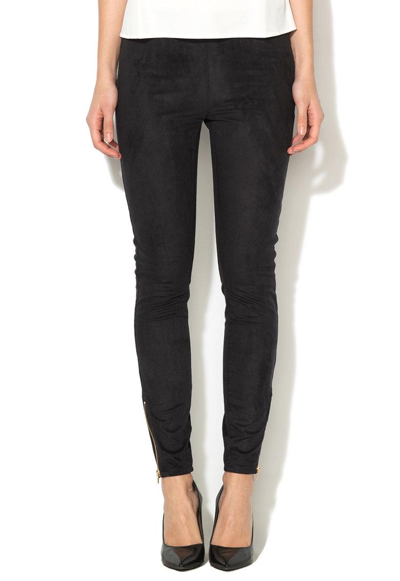 Juicy Couture Pantaloni negri cu aspect de piele intoarsa