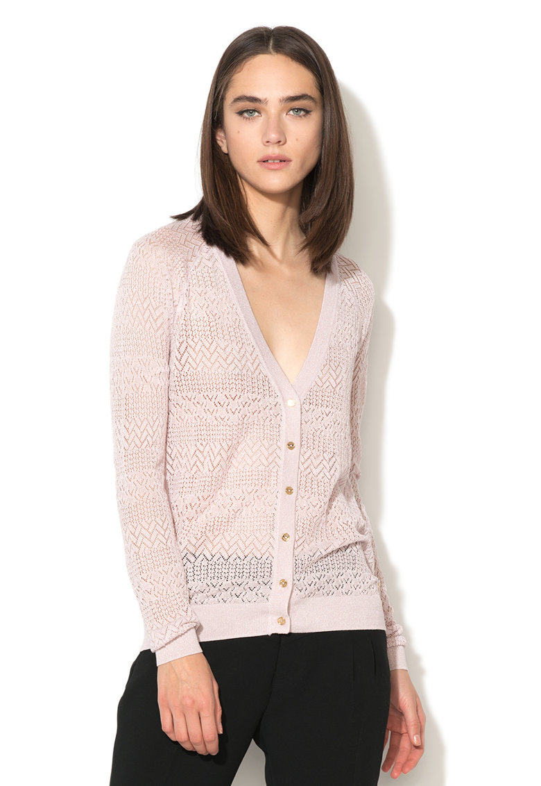 Juicy Couture Cardigan lila prafuit din amestec de matase cu model pointelle