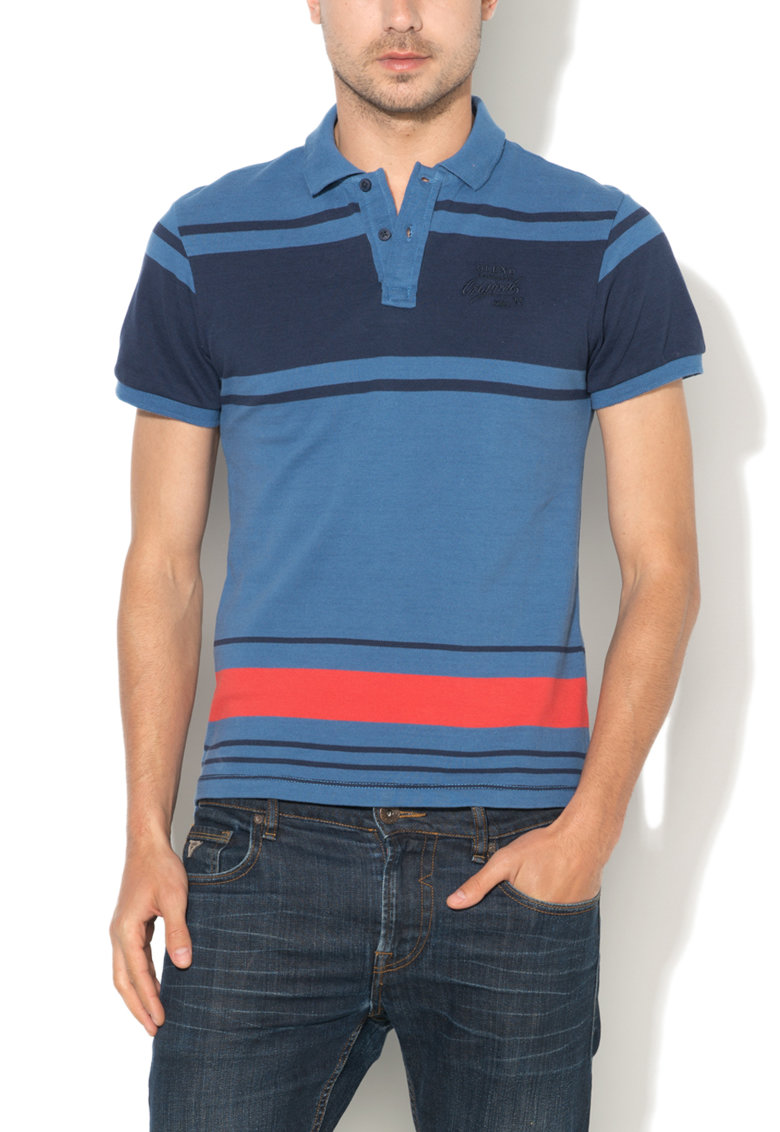 BLEND Tricou polo slim fit in nuante de albastru
