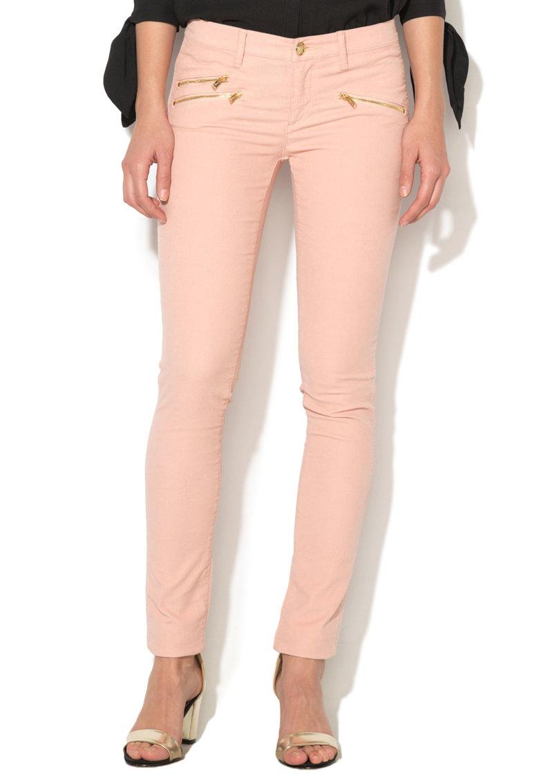 Juicy Couture Pantaloni skinny roz piersica din material reiat
