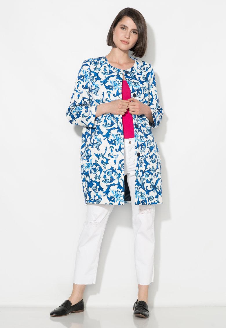 Zee Lane Collection Redingota alb si albastru cu model floral