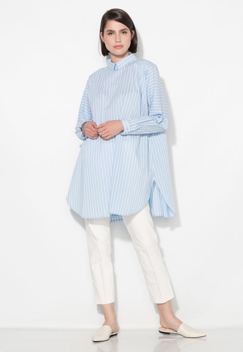Zee Lane Collection Camasa bleu supradimensionata cu nasturi pe partea din spate
